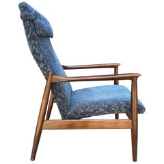 Set of Two Vintage Oak Blue Velour Easy Chairs, 1970s