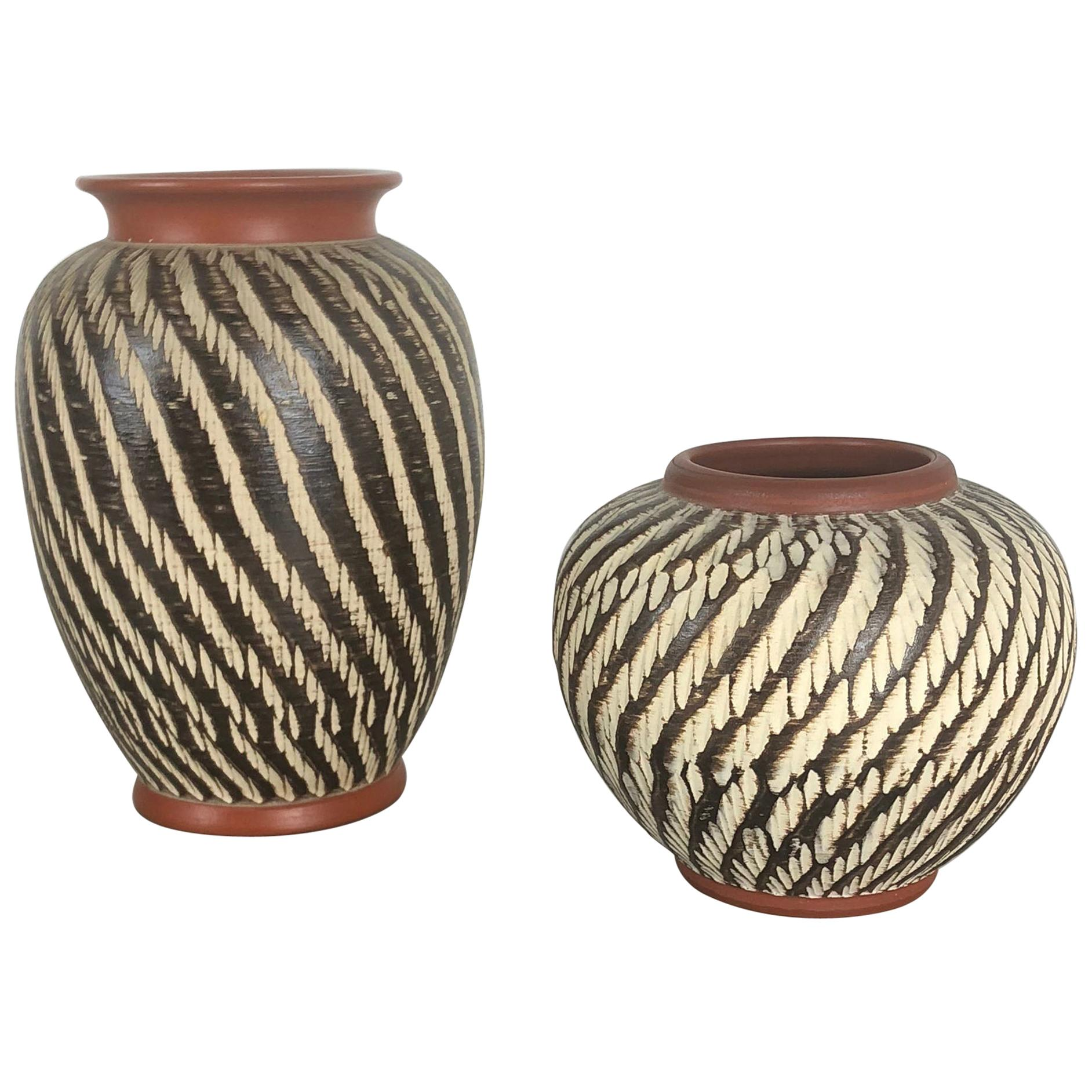 """Set of Two Vintage Pottery """"abstract"""" Vases Made by WEKARA, Germany, 1960s"""