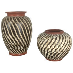 "Set of Two Vintage Pottery ""abstract"" Vases Made by WEKARA, Germany, 1960s"