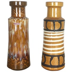 Set of Two Vintage Pottery Fat Lava Glazed Vases Made by Scheurich Germany 1970s