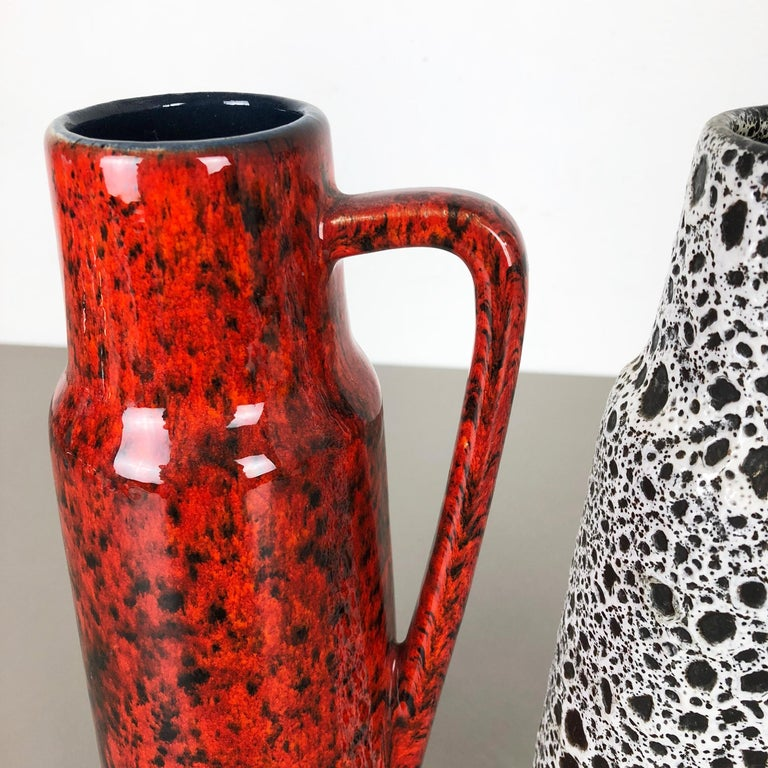 Set of Two Vintage Pottery Fat Lava Glazed Vases Made by Scheurich, Germany For Sale 4