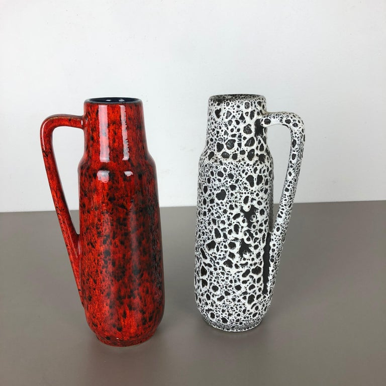 Set of Two Vintage Pottery Fat Lava Glazed Vases Made by Scheurich, Germany For Sale 6