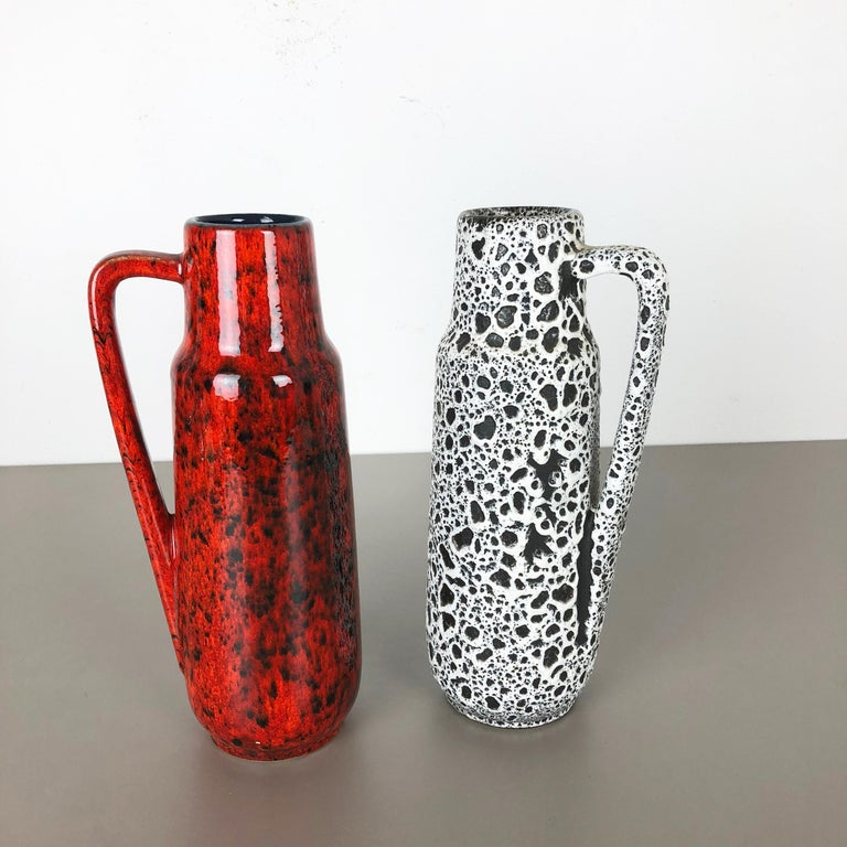Mid-Century Modern Set of Two Vintage Pottery Fat Lava Glazed Vases Made by Scheurich, Germany For Sale