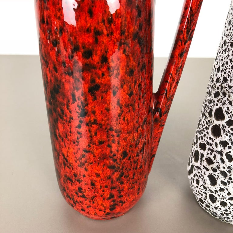 Set of Two Vintage Pottery Fat Lava Glazed Vases Made by Scheurich, Germany In Good Condition For Sale In Kirchlengern, DE