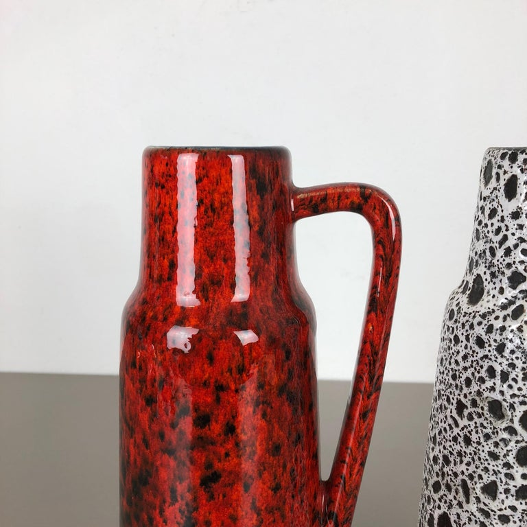 20th Century Set of Two Vintage Pottery Fat Lava Glazed Vases Made by Scheurich, Germany For Sale