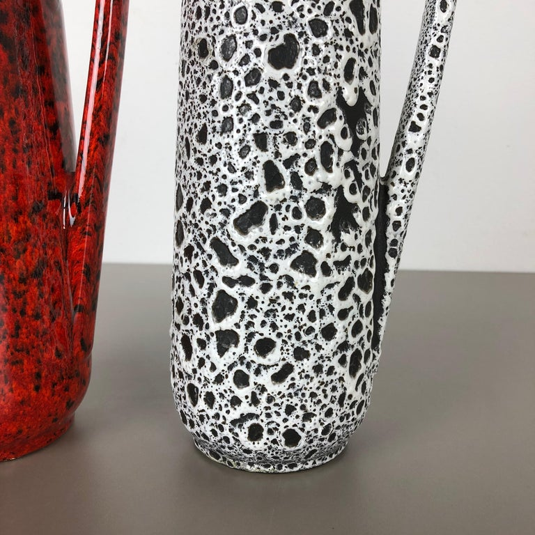 Ceramic Set of Two Vintage Pottery Fat Lava Glazed Vases Made by Scheurich, Germany For Sale