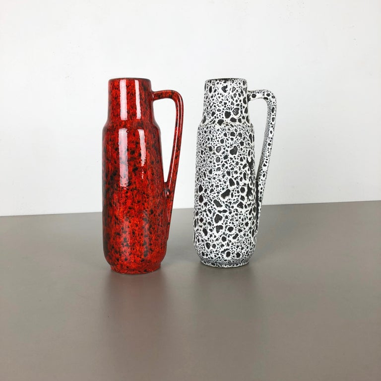 Set of Two Vintage Pottery Fat Lava Glazed Vases Made by Scheurich, Germany For Sale 1