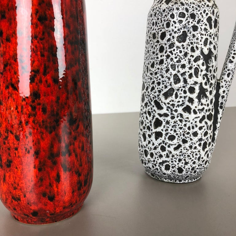 Set of Two Vintage Pottery Fat Lava Glazed Vases Made by Scheurich, Germany For Sale 2