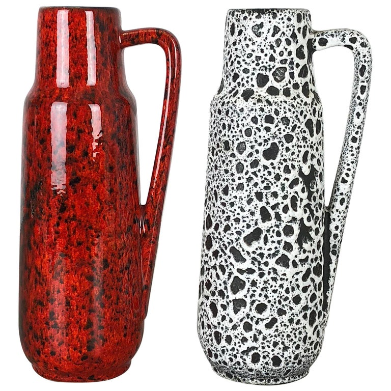 Set of Two Vintage Pottery Fat Lava Glazed Vases Made by Scheurich, Germany For Sale