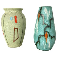 Set of Two Vintage Pottery 'FOREIGN' Vases Made by Scheurich, Germany, 1960s