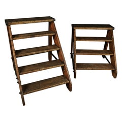 Set of Two Vintage Step Ladders from Belgium, circa 1940