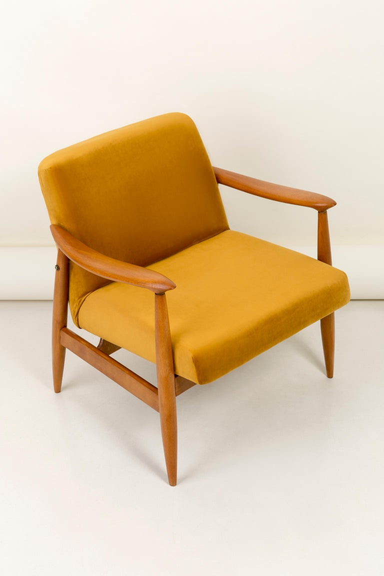 Mid-Century Modern Set of Two Vintage Velvet Mustard Yellow Armchairs, 1960s For Sale