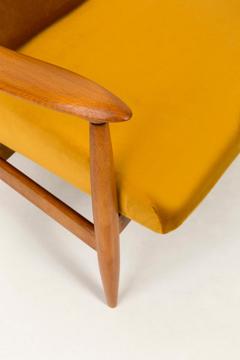 Polish Set of Two Vintage Velvet Mustard Yellow Armchairs, 1960s For Sale