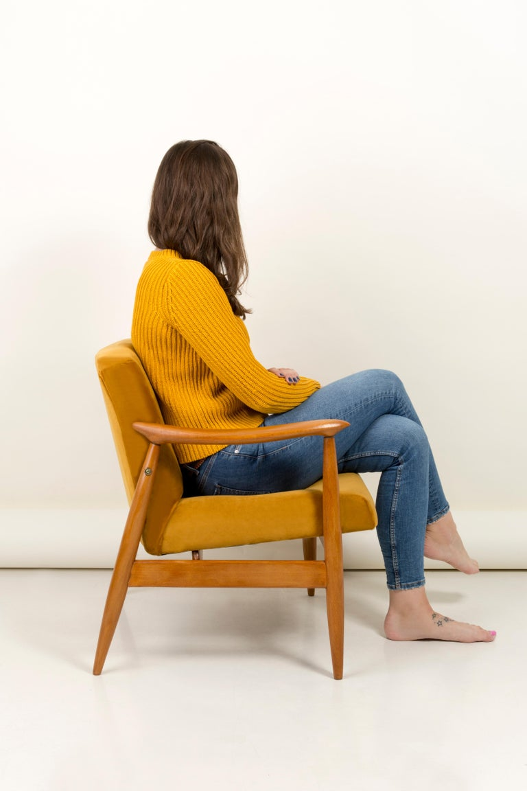 Set of Two Vintage Velvet Mustard Yellow Armchairs, 1960s For Sale 1