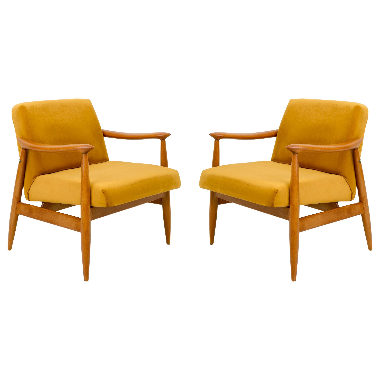 Set of Two Vintage Velvet Mustard Yellow Armchairs, 1960s