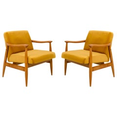 Set of Two Vintage Velvet Mustard Yellow Armchairs, 1960s