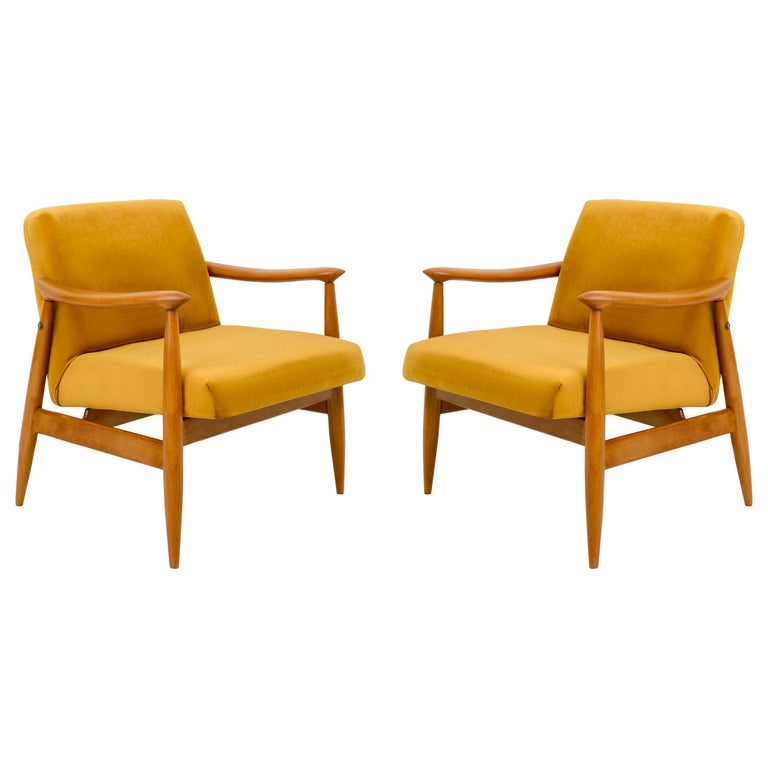 Set of Two Vintage Velvet Mustard Yellow Armchairs, 1960s For Sale