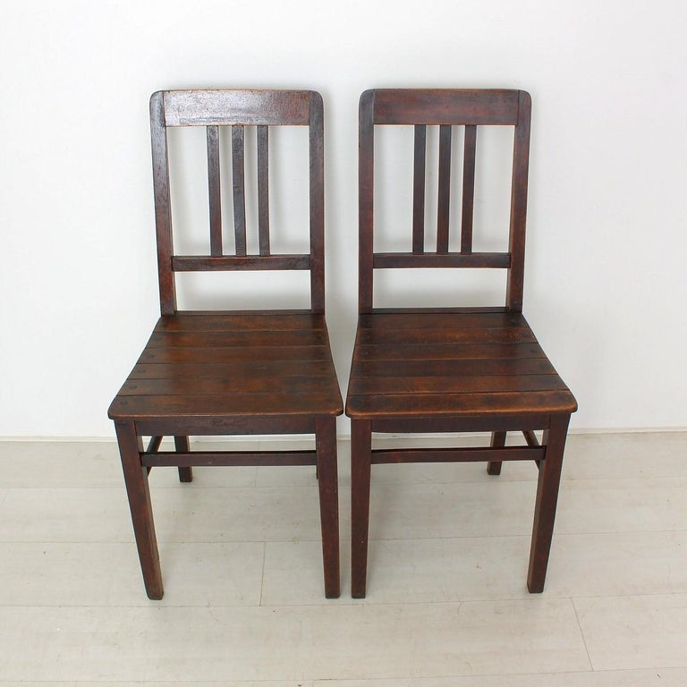 Vintage Wooden Chairs >> Set Of Two Vintage Wooden Chairs Circa 1920 For Sale At 1stdibs