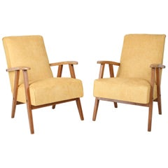 Set of Two Vintage Yellow VAR Armchairs, 1960s