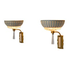 Set of Two Wall Lights in Brass and Structured Glass