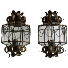 Set of Two Wall Lights Sconces in Copper and Glass