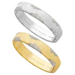 """Set of Two """"Wave"""" Bracelets, 18 Karat Gold and Diamond, W12YW"""