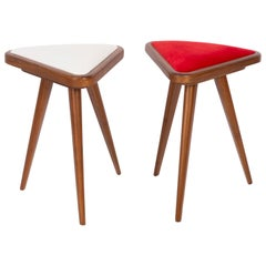 Set of Two White and Red Velvet 20th Century Stools, 1960s