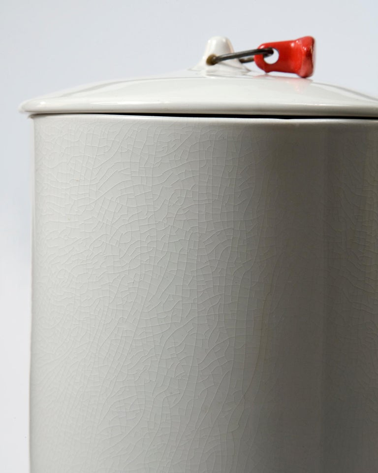 Mid-Century Modern Set of Two White Ceramic Canisters by La Gardo Tackett