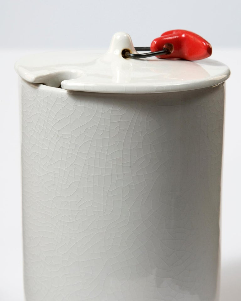 Japanese Set of Two White Ceramic Canisters by La Gardo Tackett