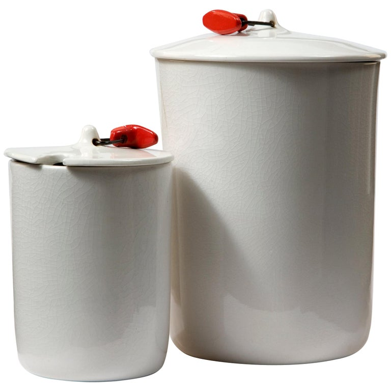 Set of Two White Ceramic Canisters by La Gardo Tackett