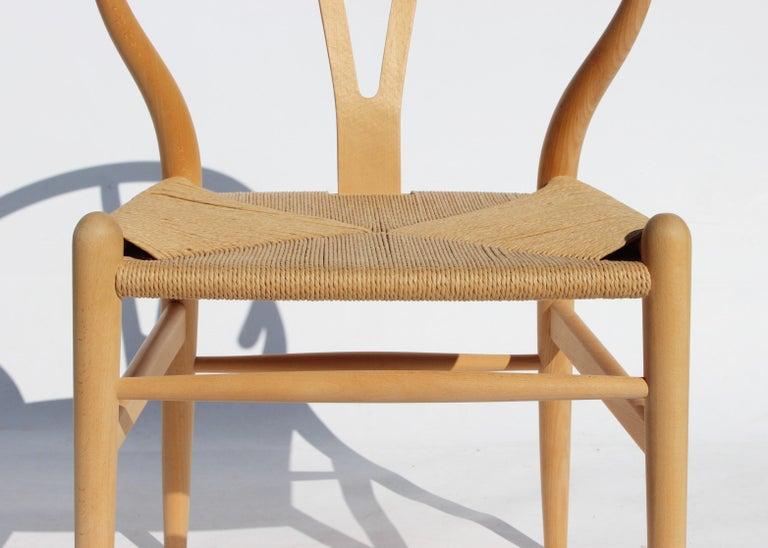 Danish Set of Two Wishbone Chairs, Model CH24, of Beech Hans J. Wegner For Sale