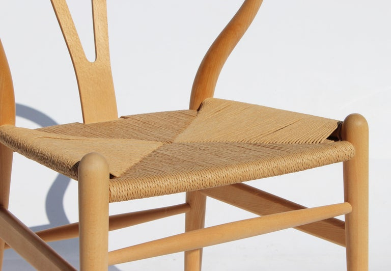 Mid-20th Century Set of Two Wishbone Chairs, Model CH24, of Beech Hans J. Wegner For Sale