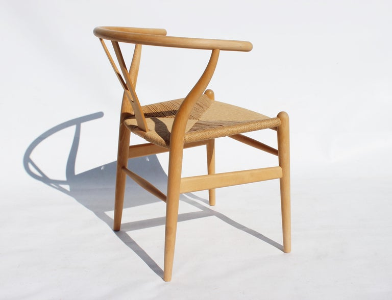 Papercord Set of Two Wishbone Chairs, Model CH24, of Beech Hans J. Wegner For Sale
