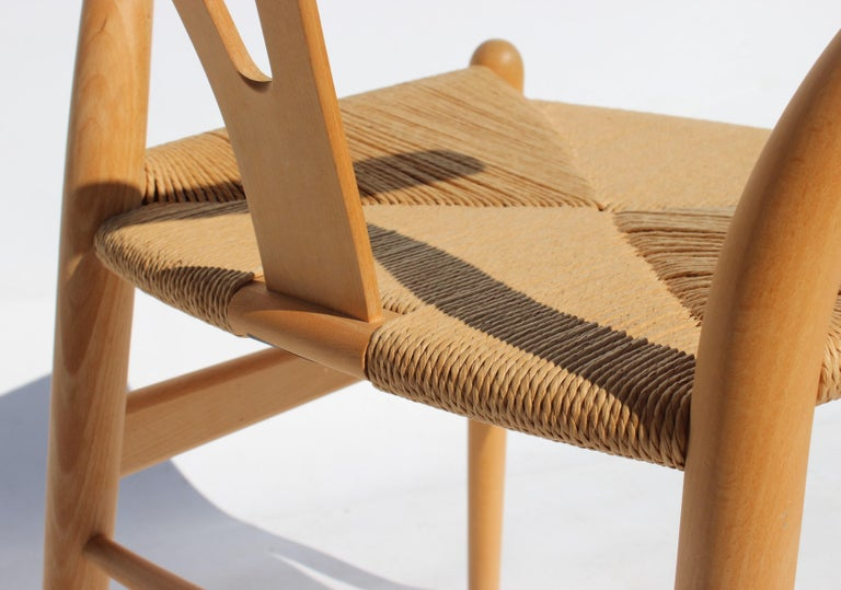 Set of Two Wishbone Chairs, Model CH24, of Beech Hans J. Wegner For Sale 2