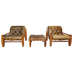 Set of Two Wood and Leather Armchairs with Their Pouf
