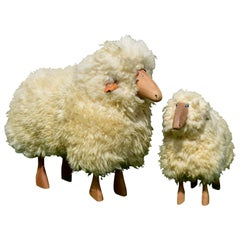 Set of Two Wool Sheeps Sculpture by Hans-Peter Krafft for Meier Germany