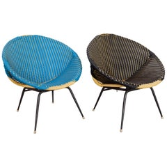 Set of Two Woven Plastic Wicker 1950s Bucket Chairs in Black and Blue