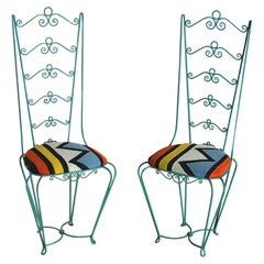 Set of Two Wrought Iron Chairs from the Sixties