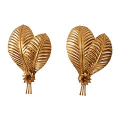 Set of Two Extra Large Gilt Metal Palm Leaf Wall Lamps, Hans Kögl, 1970s Germany