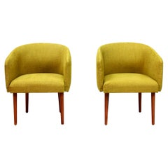 Set of Two Yellow Mid-Century Modern Club Chairs