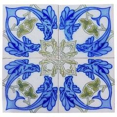 Set of Unique Antique 32 Ceramic Tiles with Fisch by Onda, Spain, circa 1900