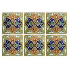 Set of Unique Antique Six Ceramic Tiles, Onda, Spain Valencia, circa 1900