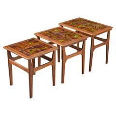 Set of Unique Late 1960s Teak + Tile Nesting Tables