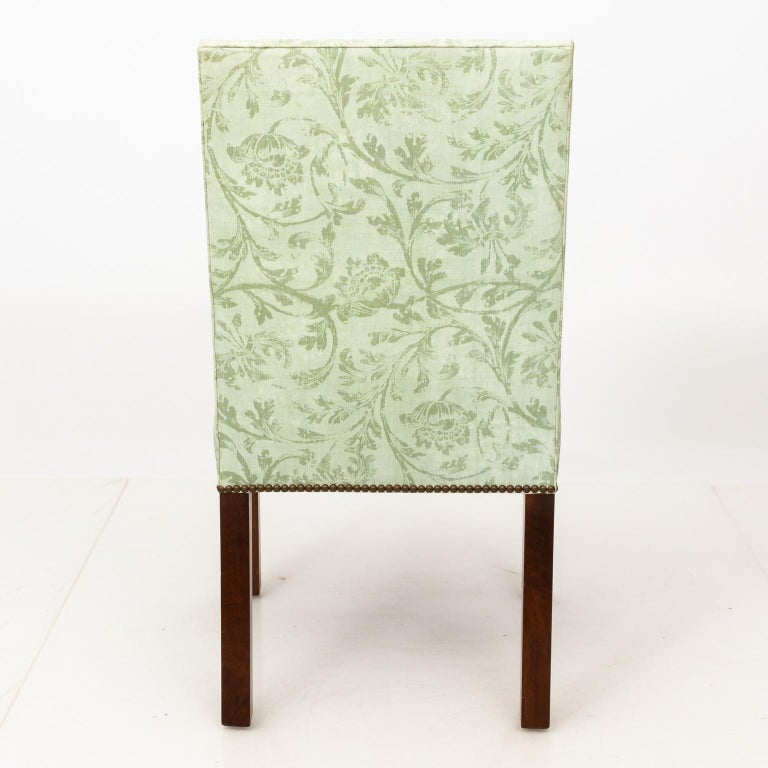 Wood Set of Upholstered Dining Chairs For Sale