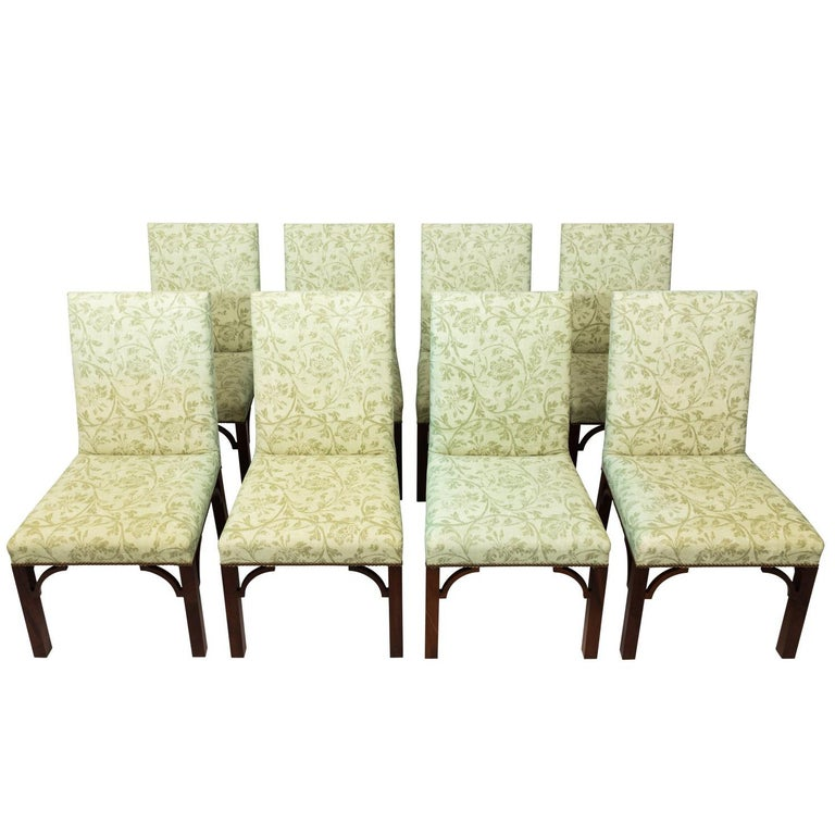 Set of Upholstered Dining Chairs For Sale