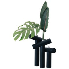 Set of Vases, Kobe Collection, Contemporary T Vases in Metal and Blackened Wood