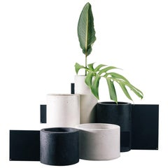 Set of Vases, Tag Collection, Contemporary Vases in Black and White Concrete
