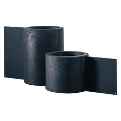 Set of Vases, Tag Collection, Contemporary Vases in Black Concrete and Metal