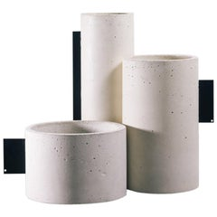 Set of Vases, Tag Collection, Contemporary Vases in White Concrete and Metal