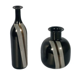 Set of Vases Tapio Wirkkala for Venini Attributable in Blown Black Murano Glass